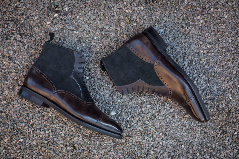Seaview - MTO - Grey Museum Calf / Black Shaded Calf / Charcoal Suede - LPB Last - Double City Rubber Sole