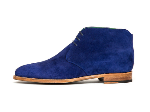 Ballard - MTO - Vivid Blue Suede - TMG Last - Natural Single Leather Sole