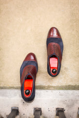 Burien - MTO - Burgundy Calf / Navy Suede - TMG Last - Single Leather Sole