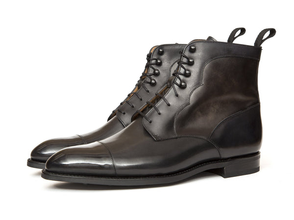 J.FitzPatrick Footwear - Delridge - Shaded Black Calf / Grey Museum - TMG Last - Country Rubber Sole