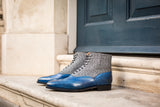 Alexander - MTO - Sky Blue Calf / Grey Poulsbo - LPB Last - Single Leather Sole