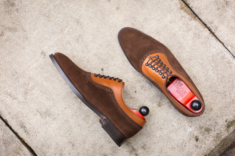 Mukilteo - MTO - Dark Brown Suede / Tan Soft Grain - TMG Last - Single Leather Sole