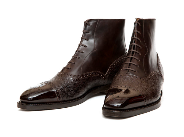David - MTO - Dark Brown Museum Calf / Dark Brown Scotch Grain Calf