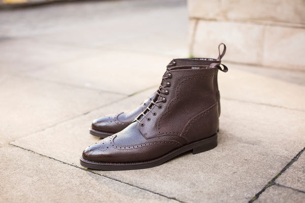 Holman - MTO - Dark Brown Scotch Grain - TMG Last - Country Rubber Sole