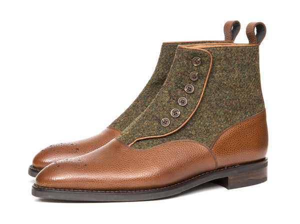 J.FitzPatrick Footwear - Westlake - Tan Soft Grain / Mustard Medley Tweed - NGT Last - City Rubber Sole