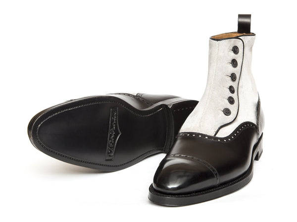 J.FitzPatrick Footwear - Carkeek - Black Calf / Light Grey Suede - NGT last - Double Leather Sole