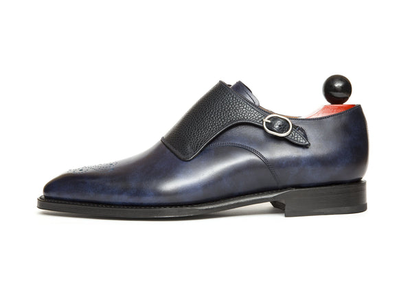J.FitzPatrick Footwear - Corliss - Navy Museum Calf / Navy Scotch Grain - LPB Last - Custom Medallion