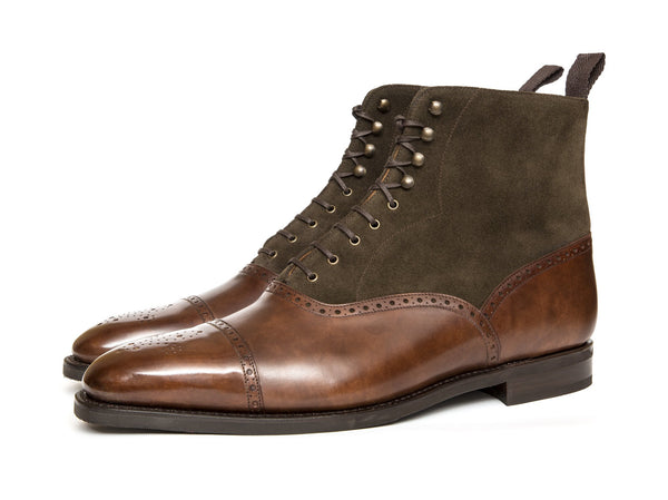 J.FitzPatrick Footwear - David - Walnut Museum Calf / Moss Suede - LPB last - City Rubber Sole