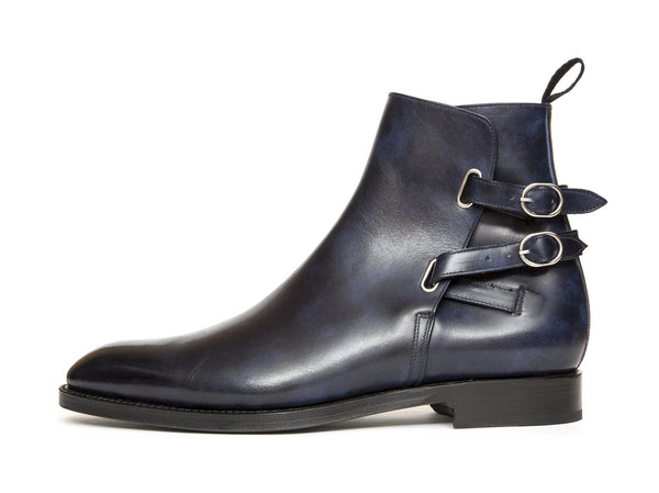 J.FitzPatrick Footwear - Genesee - Navy Museum Calf - NGT last - Double Leather Sole