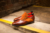 Aurora - MTO - Gold Museum Calf / Cinnamon Suede - LPB Last - Single Leather Sole