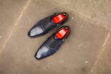 Corliss - MTO - Navy Museum Calf / Navy Scotch Grain - Heart Medallion - LPB Last - Single Leather Sole