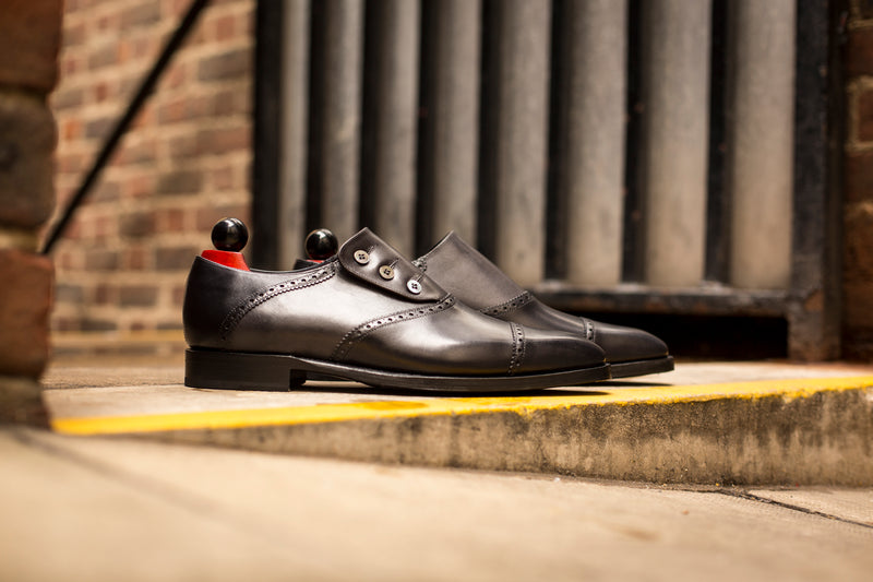 Cyril - MTO - Shaded Black Calf / Shaded Grey Calf - MGF Last - Single Leather Sole