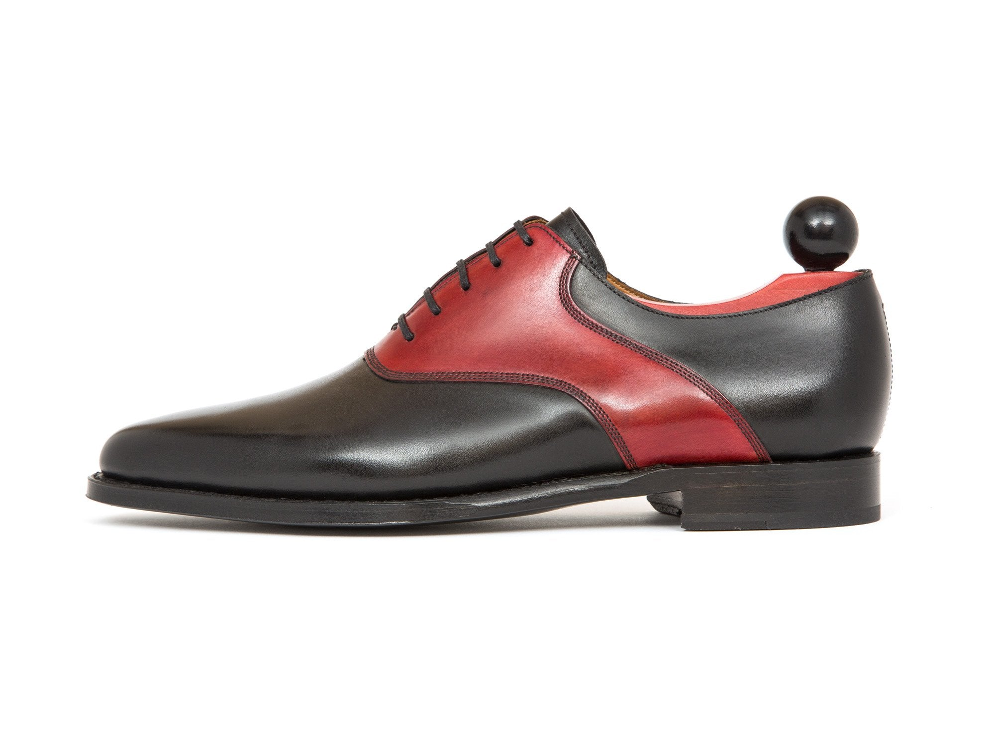 J.FitzPatrick Footwear - Stefano - Black Calf / Red Calf Saddle - JKF Last