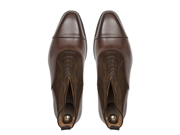J.FitzPatrick Footwear - Meadowbrook - Brown Soft Grain Dark Brown Suede - LPB Last - City Rubber Sole