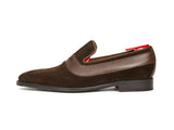 J.FitzPatrick Footwear - Marcos - Dark Brown Suede / Mid Brown Soft Grain Strap - LPB Last