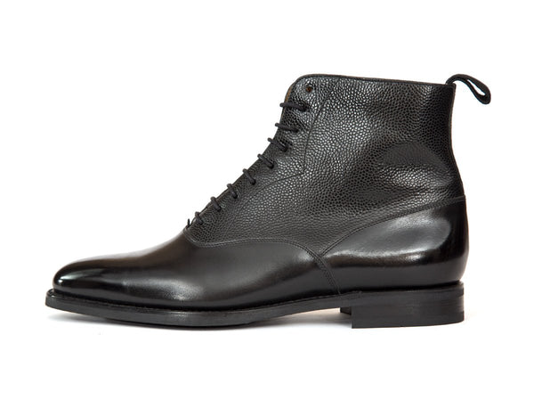 J.FitzPatrick Footwear - Wedgwood - Black Calf / Black Pebble Grain - TMG Last - City Rubber Sole
