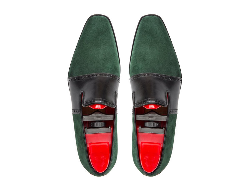 J.FitzPatrick Footwear - Shoreline - Bottle Green Suede / Black Calf - MGF Last