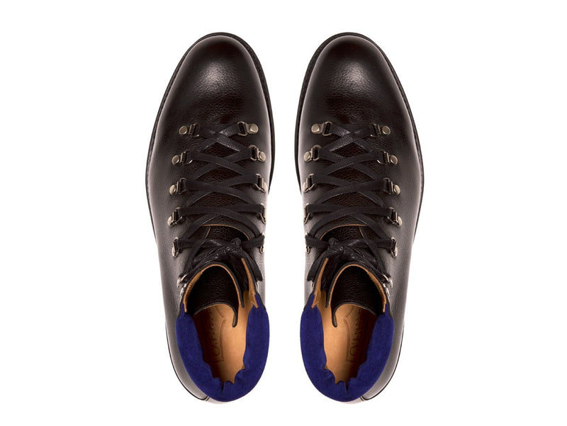 J.FitzPatrick Footwear - Snoqualmie - Black Soft Grain / Vivid Blue Suede - NJF Last - Rugged Rubber Sole