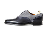 J.FitzPatrick Footwear - Wallingford - Shaded Navy Calf / Light Grey Suede - JKF Last