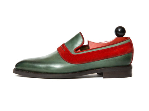 J.FitzPatrick Footwear - Marcos - Forest Green Calf / RedSuede LPB Last - City Rubber Sole