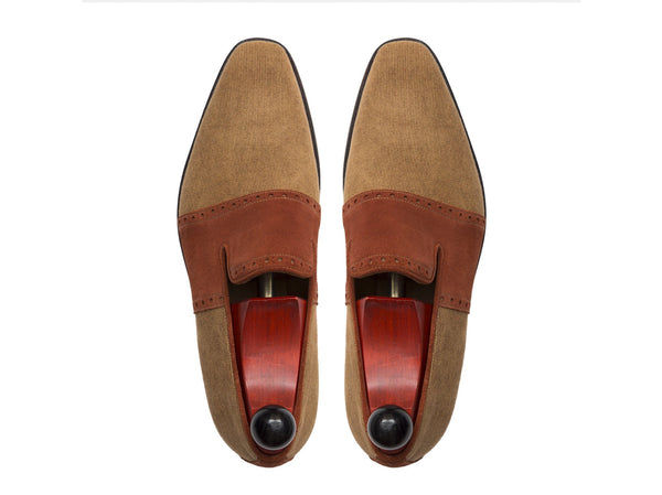 J.FitzPatrick Footwear - Shoreline - Desert Canvas / Rust Suede LPB Last - City Rubber Sole