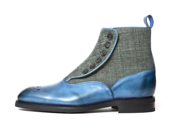J.FitzPatrick Footwear - Westlake - Sky Blue Calf / Military Canvas - TMG Last - City Rubber Sole