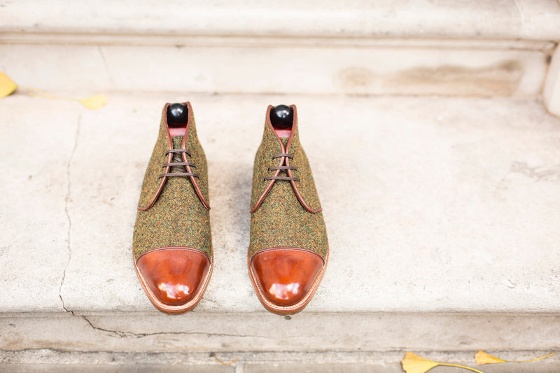 Des Moines - MTO - Mustard Tweed / Gold Museum Calf - TMG Last - Natural Single Leather Sole