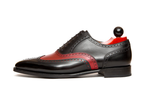 "McClure - MTO - Black Calf / Red Calf - ""13"" Medallion - MGF Last - Single Leather Sole"