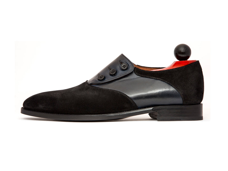 Aurora - MTO - Black Suede / Navy Soft Calf - LPB Last - Single Leather Sole