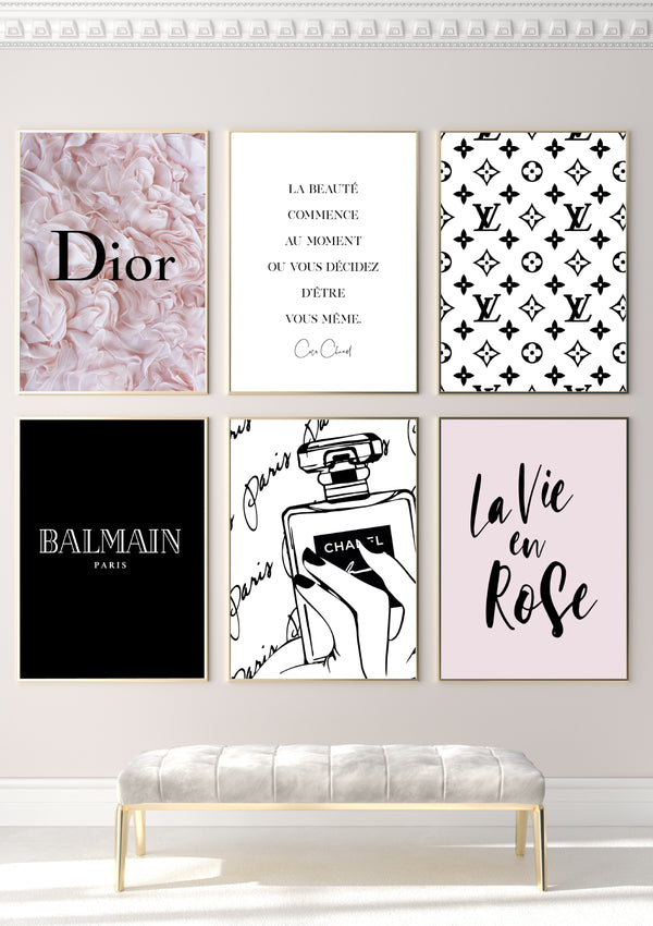 LOT 6 POSTERS TAILLE (50x70cm) - THÈME ROSE