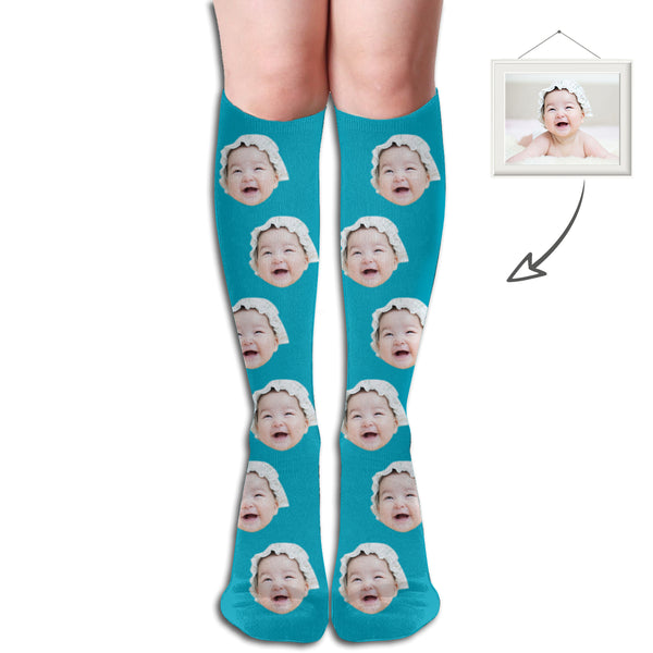 Custom Baby Face Printed Middle Socks