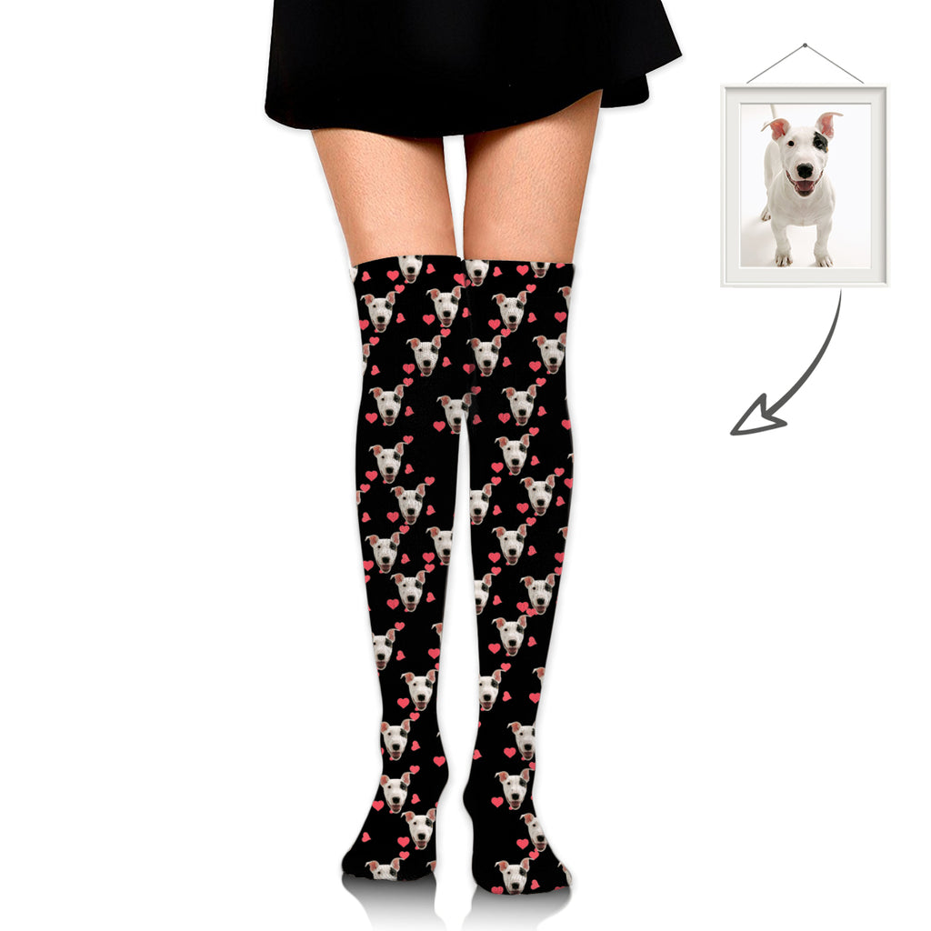 Custom Long Stockings With Dog Face And Red Heart Printing