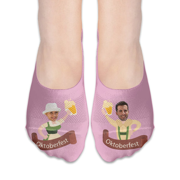 Custom Couple's Oktoberfest Boat Socks With Your Face Printing