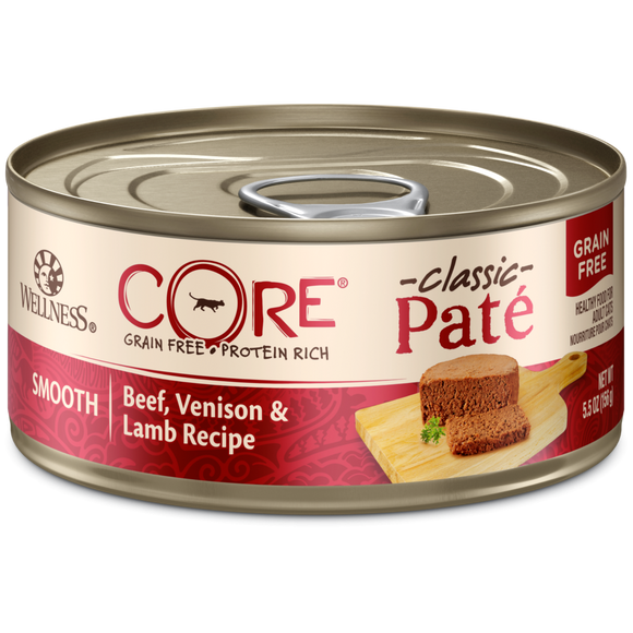Wellness CORE Natural Grain Free Beef, Venison and Lamb Smooth Pate Wet Canned Cat Food