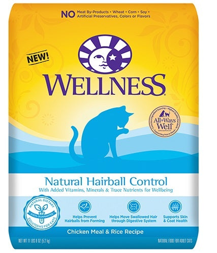 Wellness Natural Hairball Control Chicken Meal and Rice Recipe Dry Cat Food