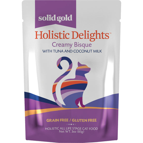 Solid Gold Grain Free Holistic Delights Tuna & Coconut Milk Creamy Bisque Cat Food Pouches