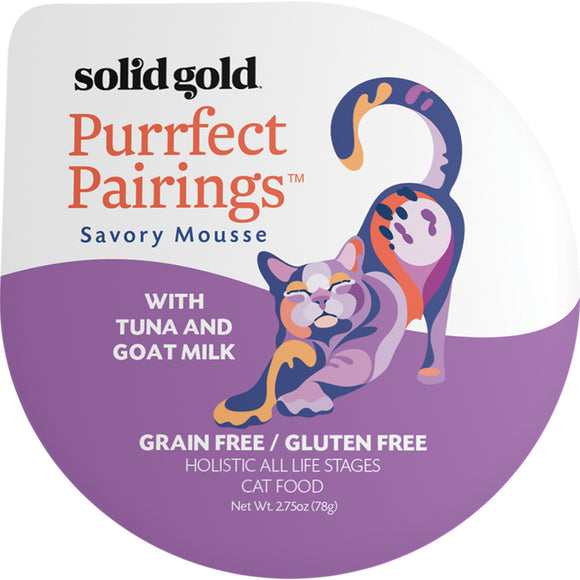 Solid Gold Grain Free Purrfect Pairings Tuna & Goat Milk Savory Mousse Cat Food Tray
