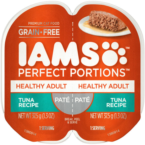 Iams Perfect Portions Healthy Adult Tuna Pate Wet Cat Food Tray