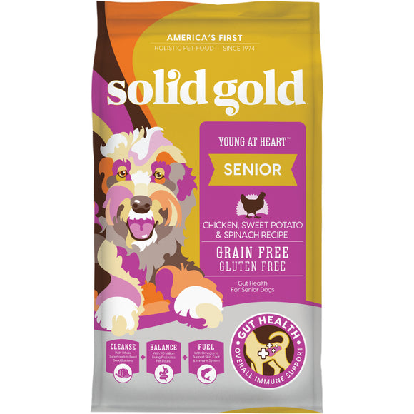 Solid Gold Young at Heart Grain Free Senior Recipe with Chicken, Sweet Potato & Spinach Dry Dog Food