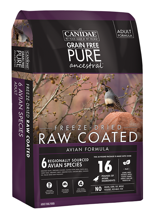 Canidae PURE Ancestral Grain Free Avian Recipe with Quail, Chicken, & Turkey Raw Coated Dry Dog Food
