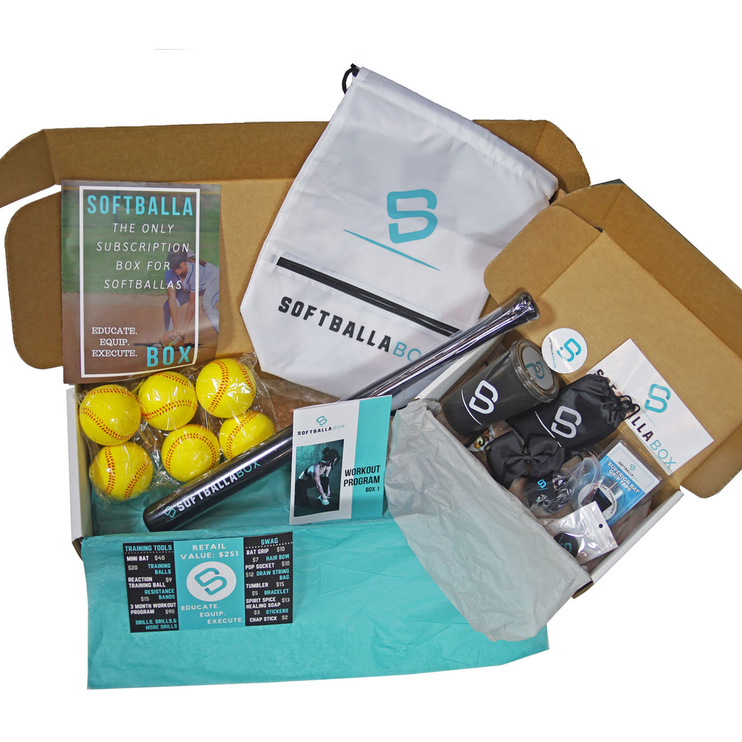 The SoftballaBox Homerun (Get a new box every 3 months, paid once per year)