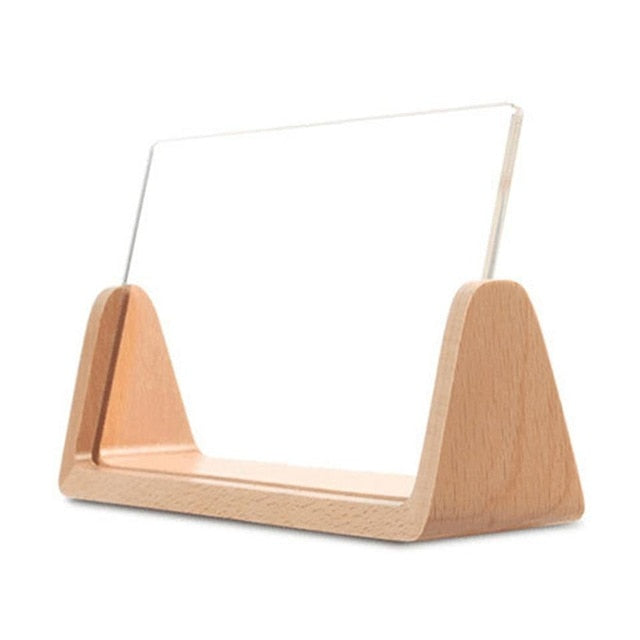 Acrylic desktop photo frame with solid wood base