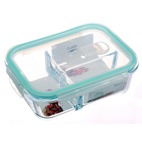 2/3 Grid Microwavable Leakproof Glass Lunch Box, Transparent Borosilicate Glass bento Box Dinnerware Sets; Rectangle,Round
