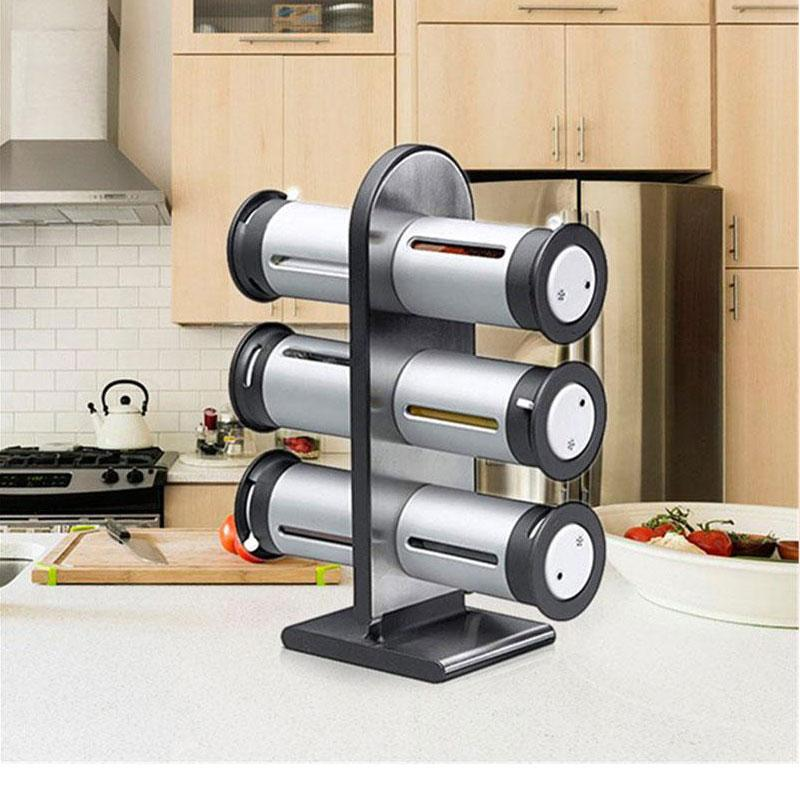 Zero-Gravity Magnetic Spice Rack with 6 Seasoning Canisters