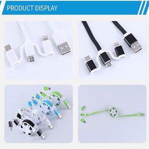 2 in 1 Retractable  USB Charging Cable for Apple iPhone/Android