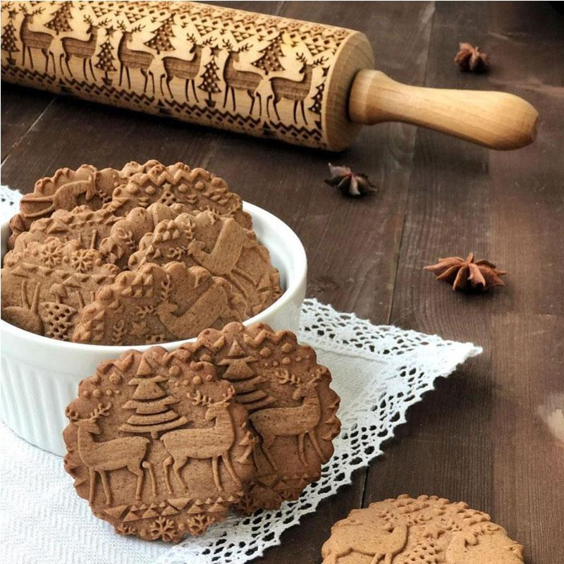 Wood Embossed Rolling Pins with Christmas Symbols for Cookies