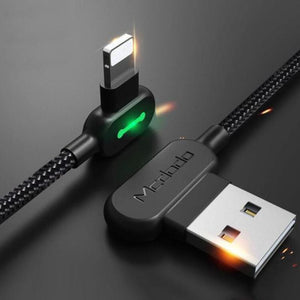 LED Right Angle Nylon Braided USB Charging Cable