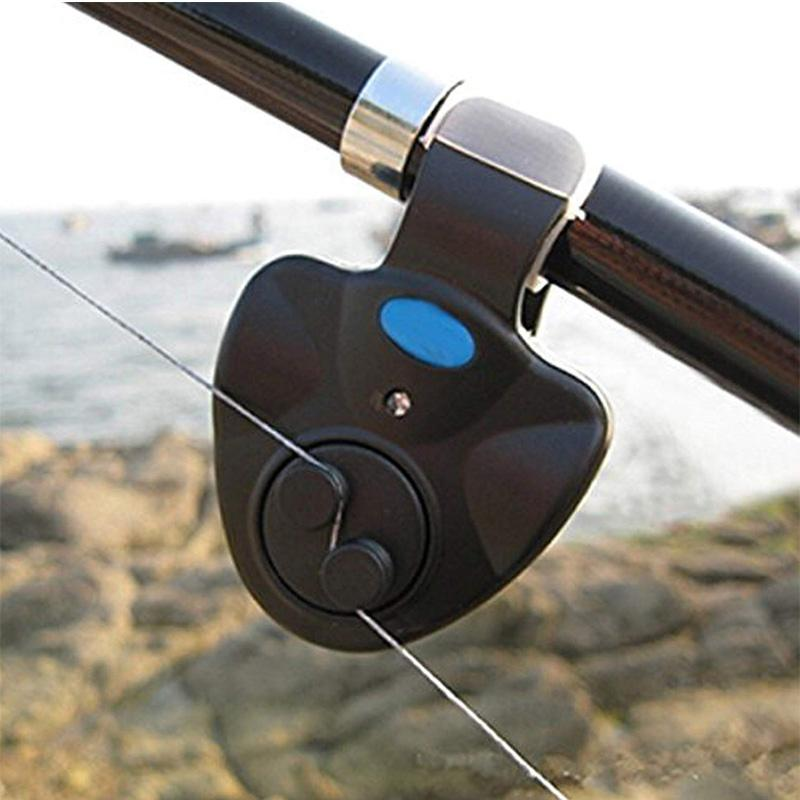 Black Electric Clip-On Fishing Bait Alarm with Sound and LED Light