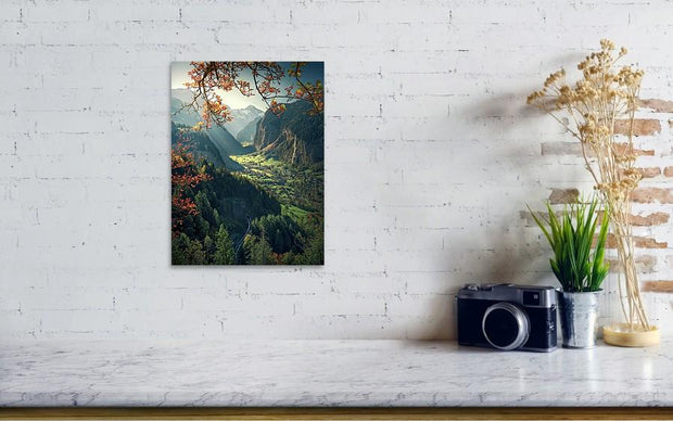 Lauterbrunnen Autumn acrylic print by max rive hanged in small on wall