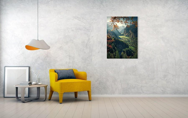 Lauterbrunnen Autumn acrylic print by max rive hanged in normal size in living room